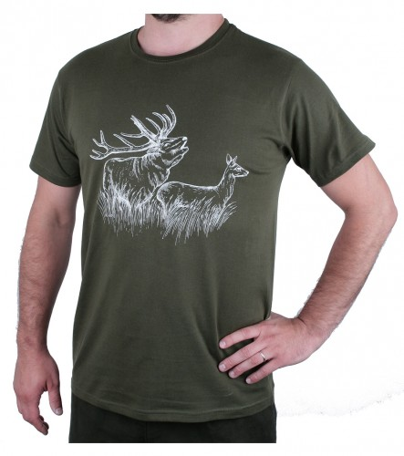 Zelené myslivecké tričko AFARS jelen a laň