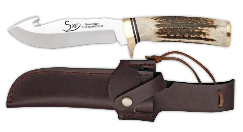 Lovecký nůž s párákem, rukojeť pravý paroh 12cm