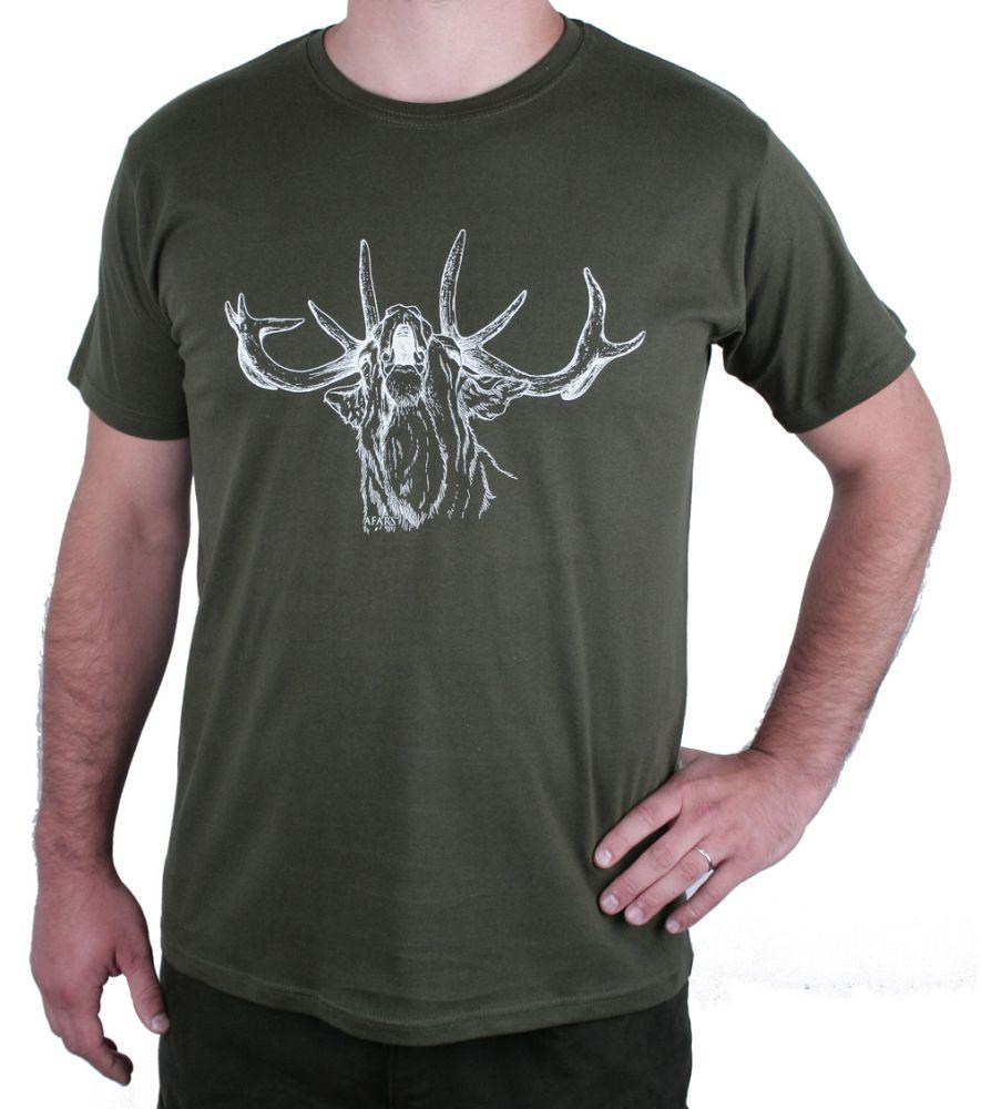 Zelené myslivecké tričko AFARS jelen
