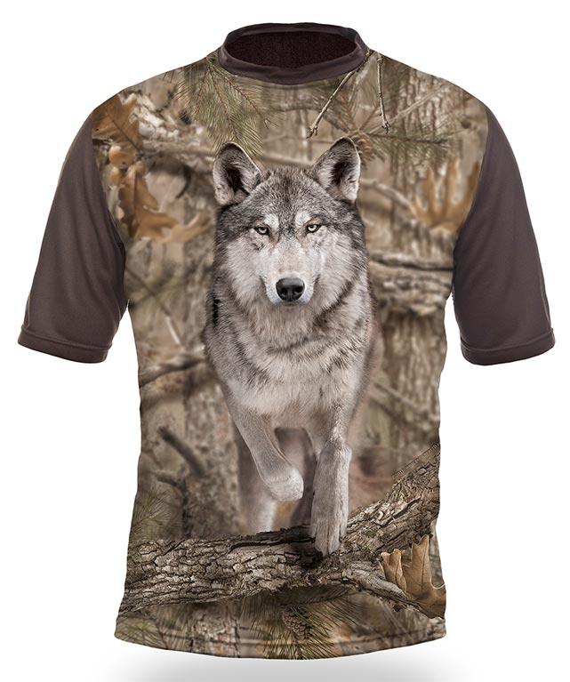 Myslivecké tričko kr. rukáv Vlk 3D b. Kamufláž