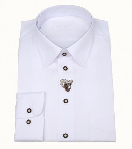 Košile společenská bílá DR, výšivka srnec