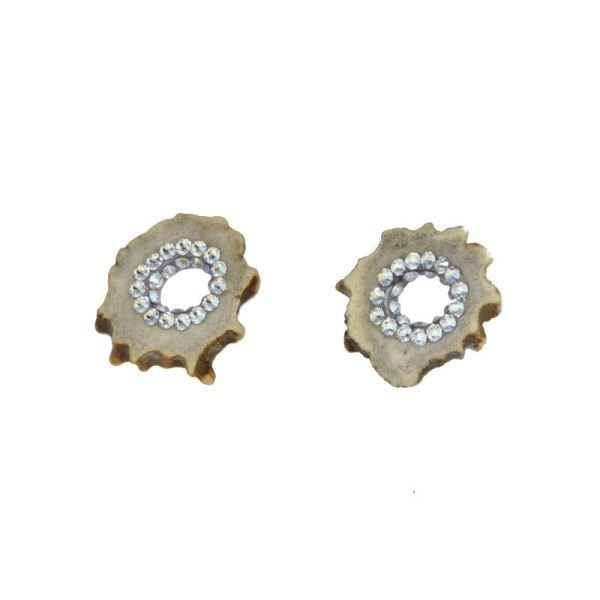 Náušnice z paroží s kamínky Moonlight Swarovski Crystals a dříkem z chirurgické oceli 316L