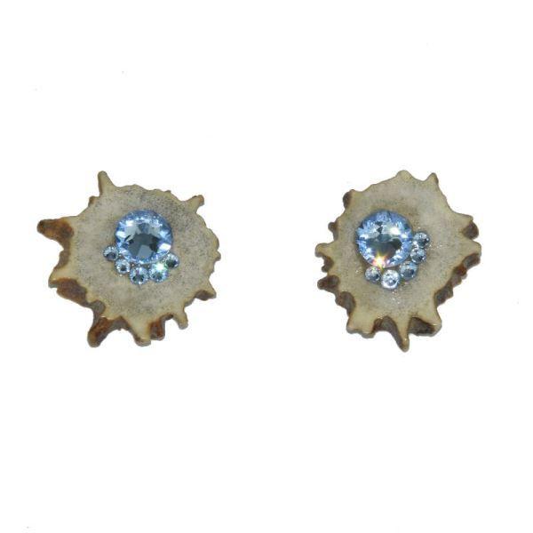 Náušnice plné s dříkem ocel 316L Light Saphire Swarovski Crystals
