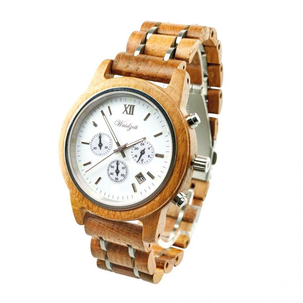 Dřevěné hodinky Barrique Chronograf Blanc