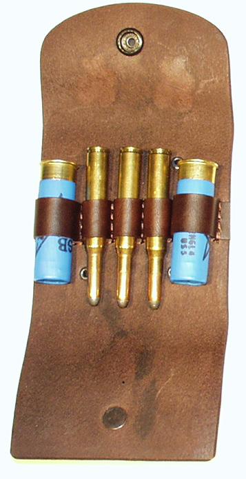 pouzdro na 3 kulové a 2 brokové náboje